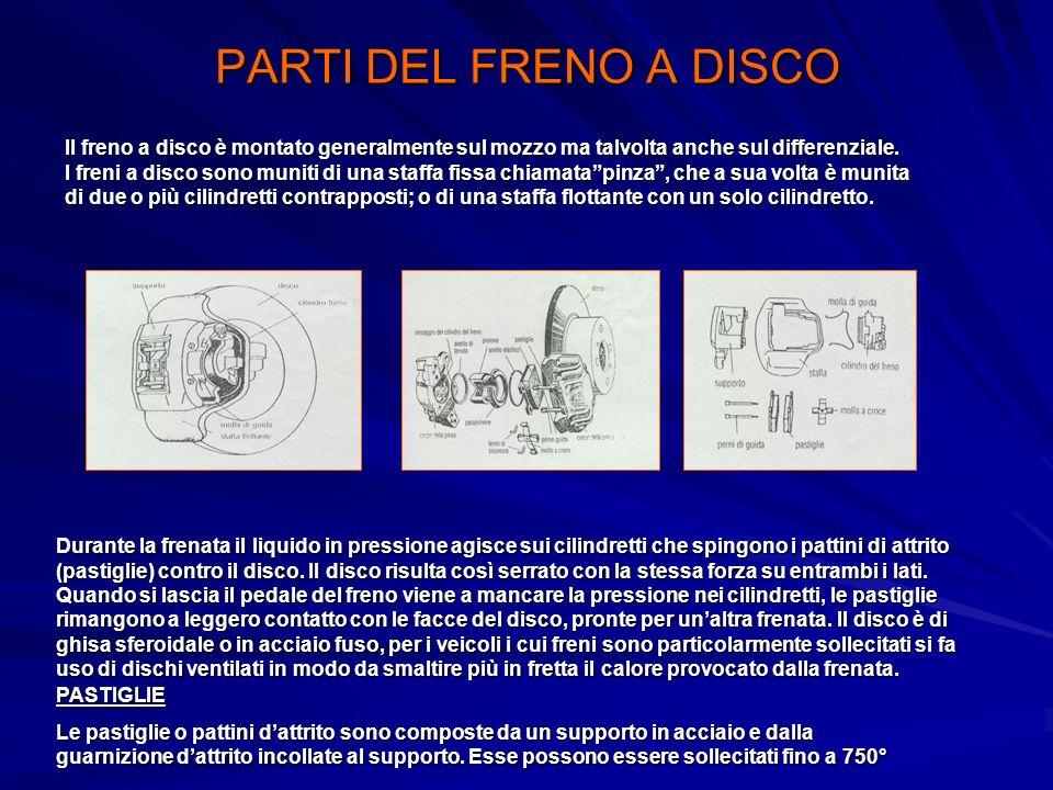 PARTI DEL FRENO A DISCO Il freno a disco è montato generalmente sul mozzo ma talvolta anche sul differenziale. I freni a disco sono muniti di una staf