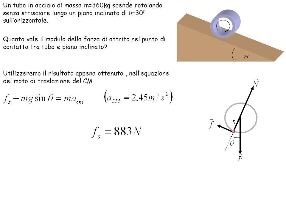 Un tubo in acciaio di massa m=360kg scende rotolando senza strisciare lungo un piano inclinato di =30 0 sullorizzontale. Quanto vale il modulo della f