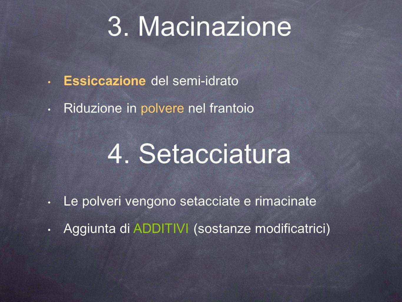 3. Macinazione Essiccazione del semi-idrato Riduzione in polvere nel frantoio 4. Setacciatura Le polveri vengono setacciate e rimacinate Aggiunta di A