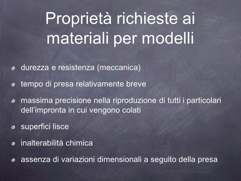 Proprietà richieste ai materiali per modelli durezza e resistenza (meccanica) tempo di presa relativamente breve massima precisione nella riproduzione