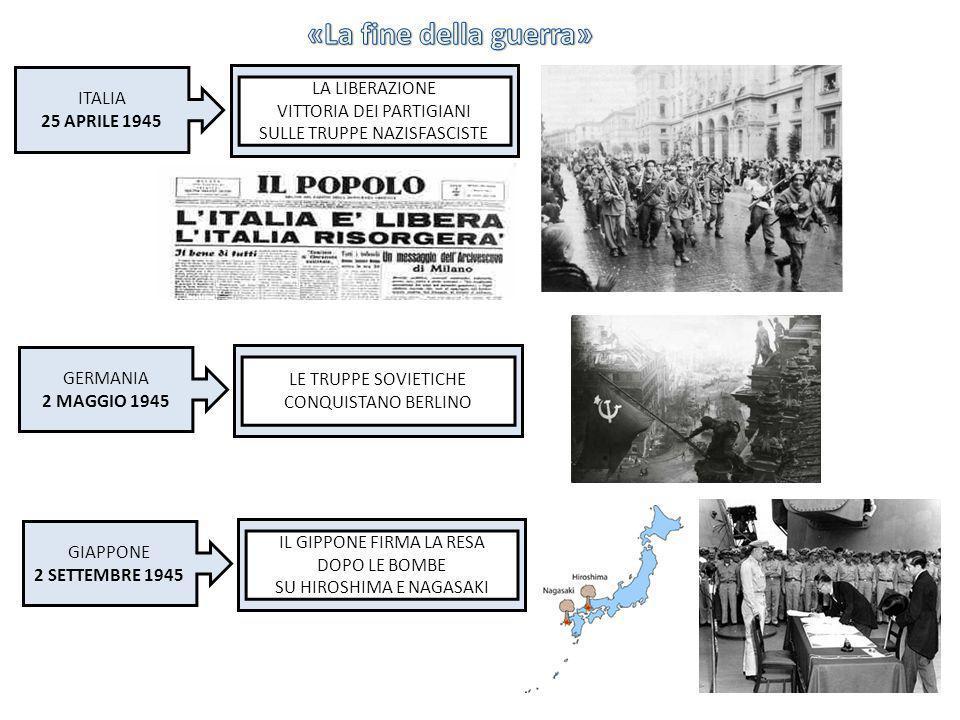 ITALIA 25 APRILE 1945 LA LIBERAZIONE VITTORIA DEI PARTIGIANI SULLE TRUPPE NAZISFASCISTE GERMANIA 2 MAGGIO 1945 LE TRUPPE SOVIETICHE CONQUISTANO BERLIN