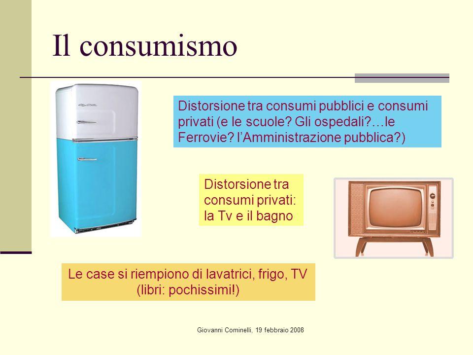 Giovanni Cominelli, 19 febbraio 2008 Il consumismo Distorsione tra consumi pubblici e consumi privati (e le scuole.