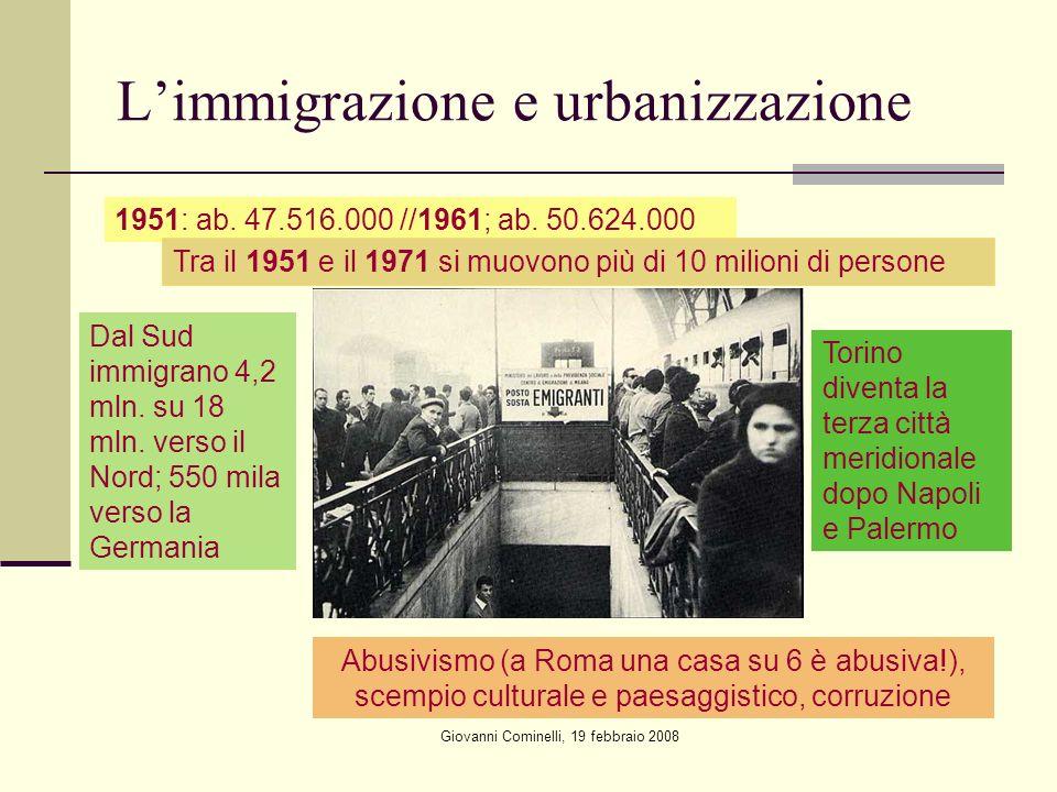 Giovanni Cominelli, 19 febbraio 2008 Limmigrazione e urbanizzazione 1951: ab.