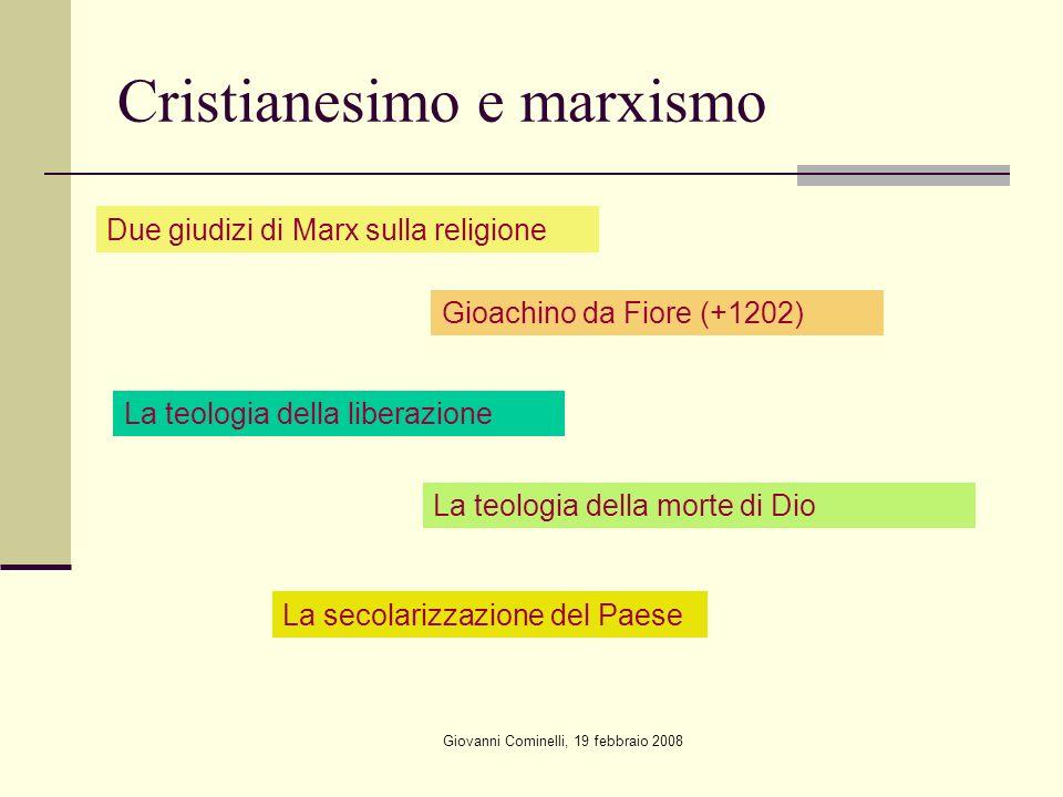 Giovanni Cominelli, 19 febbraio 2008 Cristianesimo e marxismo Due giudizi di Marx sulla religione Gioachino da Fiore (+1202) La teologia della liberazione La teologia della morte di Dio La secolarizzazione del Paese