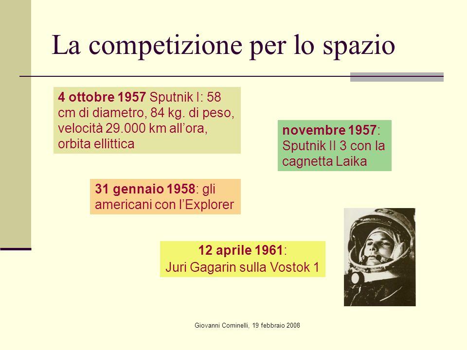 Giovanni Cominelli, 19 febbraio 2008 La competizione per lo spazio 4 ottobre 1957 Sputnik I: 58 cm di diametro, 84 kg.