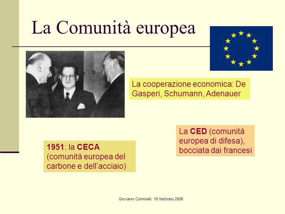 Giovanni Cominelli, 19 febbraio 2008 La Comunità europea La cooperazione economica: De Gasperi, Schumann, Adenauer 1951: la CECA (comunità europea del carbone e dellacciaio) La CED (comunità europea di difesa), bocciata dai francesi