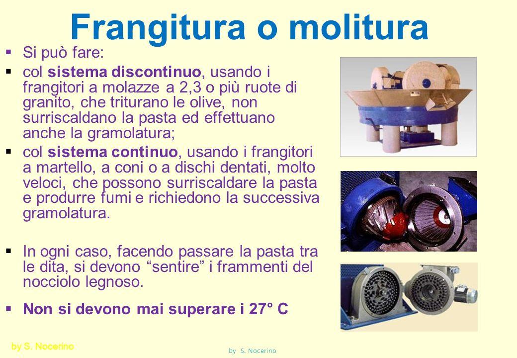 Frangitura o molitura Si può fare: col sistema discontinuo, usando i frangitori a molazze a 2,3 o più ruote di granito, che triturano le olive, non su