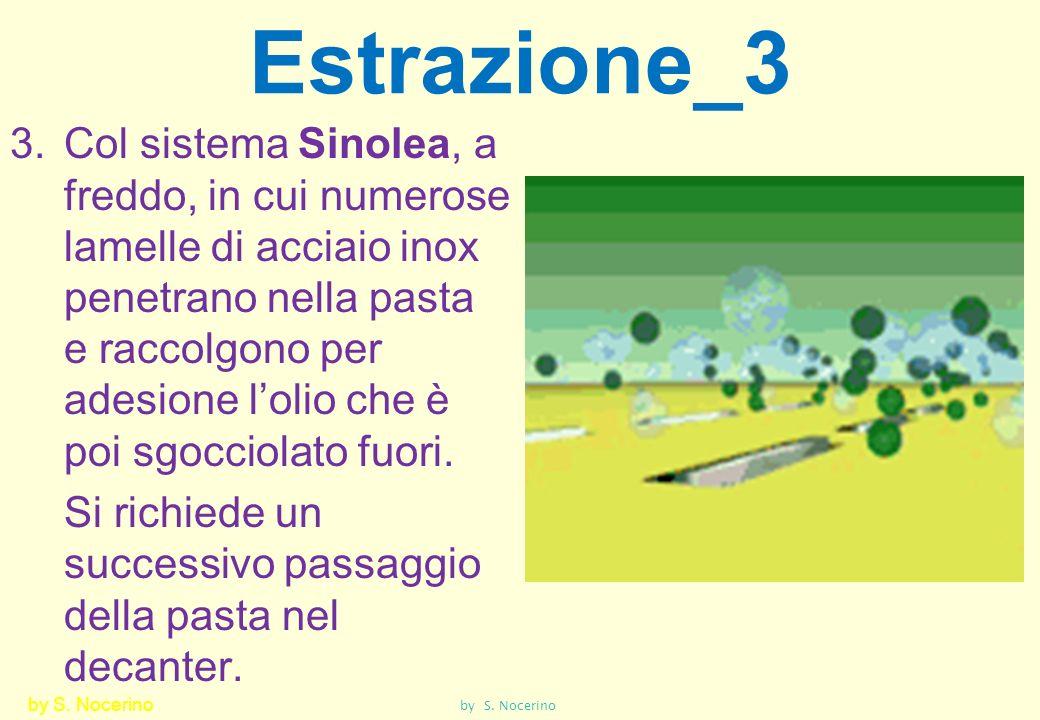 Estrazione_3 3.Col sistema Sinolea, a freddo, in cui numerose lamelle di acciaio inox penetrano nella pasta e raccolgono per adesione lolio che è poi