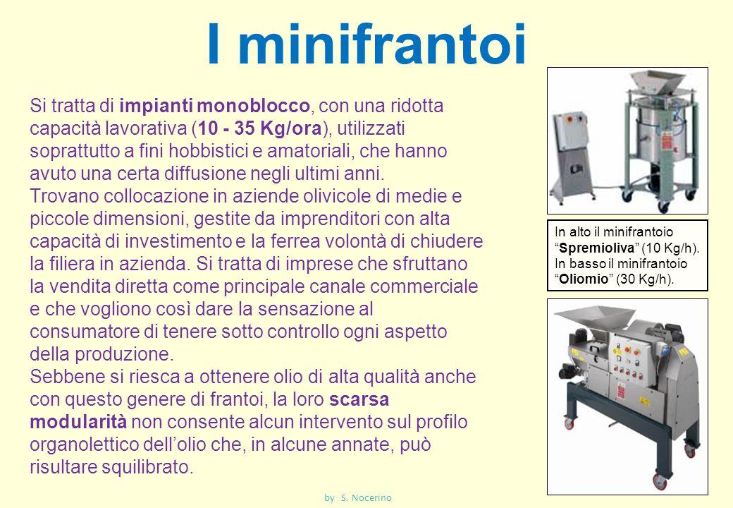 I minifrantoi Si tratta di impianti monoblocco, con una ridotta capacità lavorativa (10 - 35 Kg/ora), utilizzati soprattutto a fini hobbistici e amato