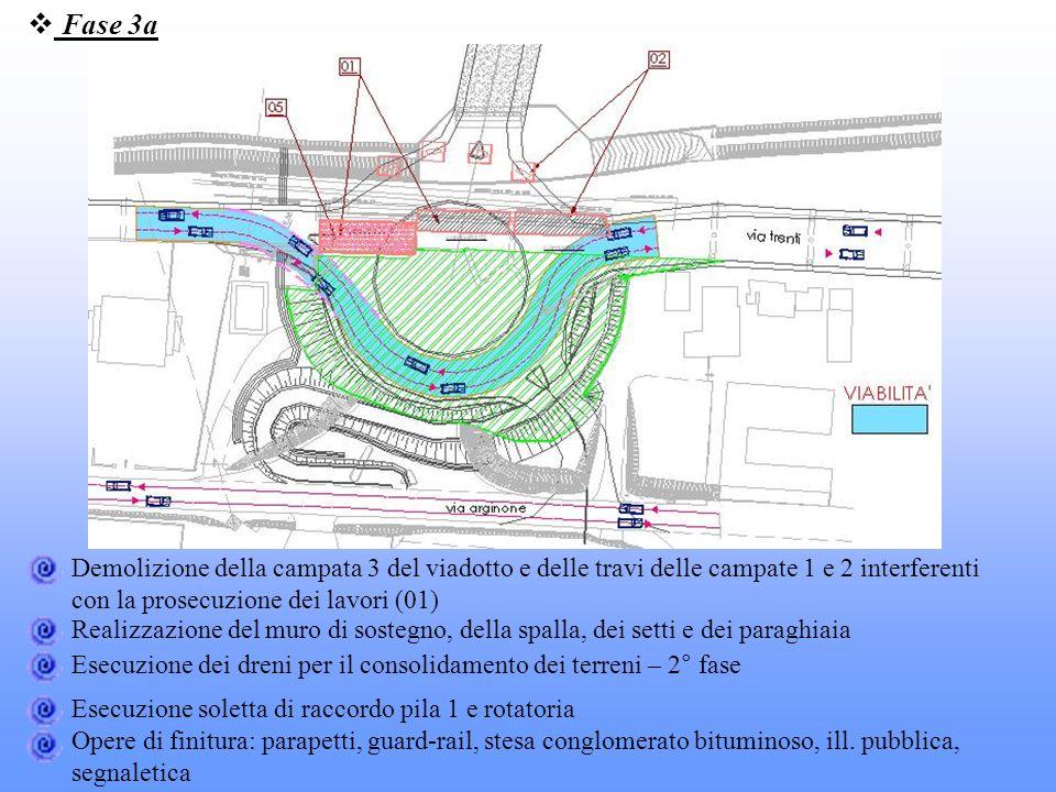 Fase 3a Demolizione della campata 3 del viadotto e delle travi delle campate 1 e 2 interferenti con la prosecuzione dei lavori (01) Realizzazione del
