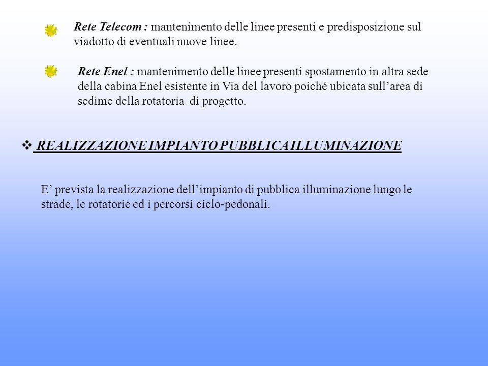Rete Telecom : mantenimento delle linee presenti e predisposizione sul viadotto di eventuali nuove linee. Rete Enel : mantenimento delle linee present
