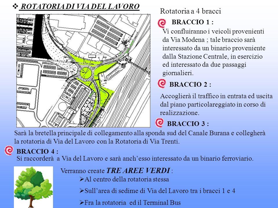 ROTATORIA DI VIA DEL LAVORO Rotatoria a 4 bracci BRACCIO 1 : Vi confluiranno i veicoli provenienti da Via Modena ; tale braccio sarà interessato da un