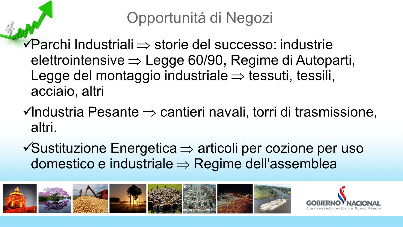 Opportunitá di Negozi Parchi Industriali storie del successo: industrie elettrointensive Legge 60/90, Regime di Autoparti, Legge del montaggio industr
