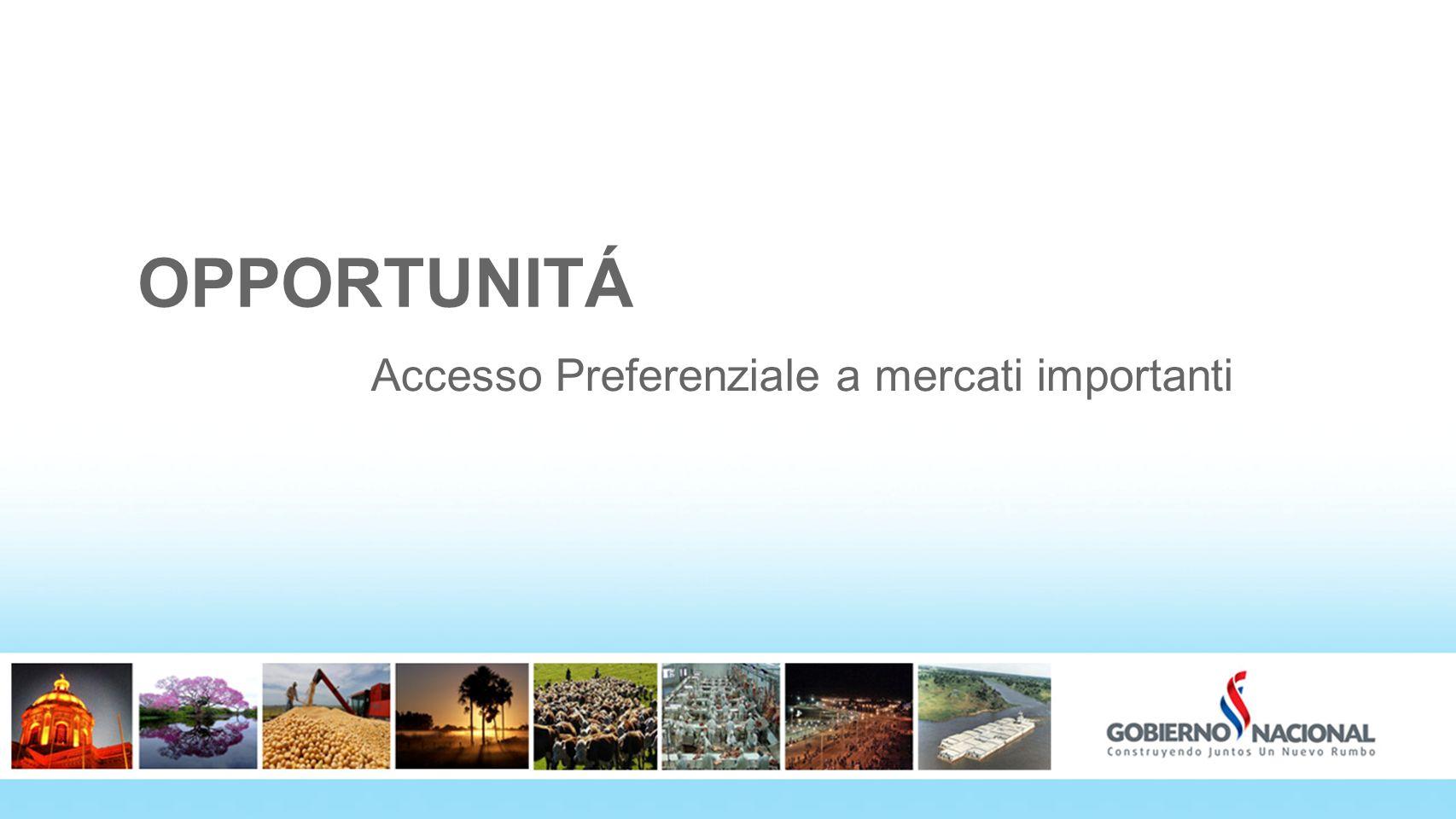 OPPORTUNITÁ Accesso Preferenziale a mercati importanti