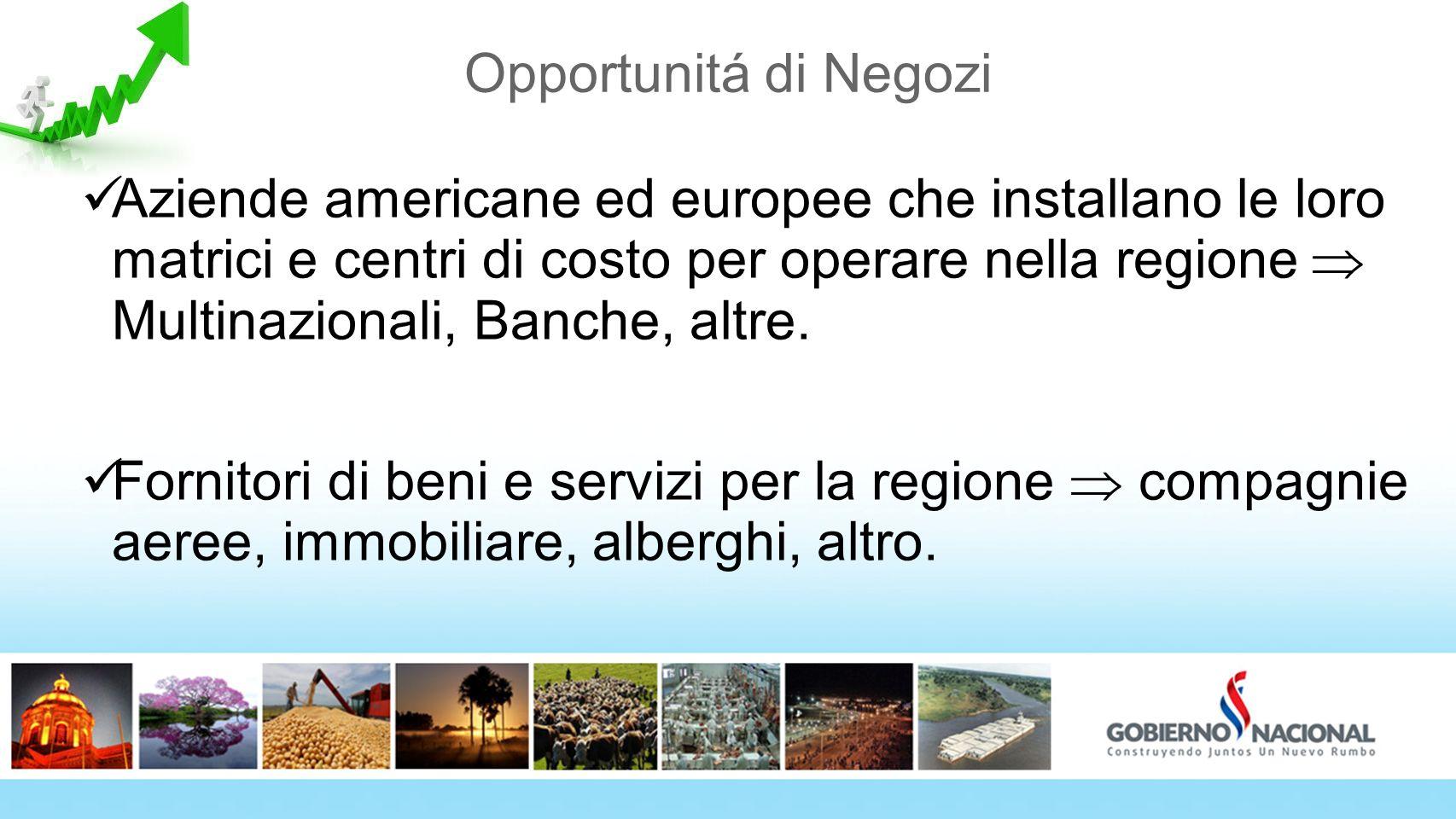 Opportunitá di Negozi Aziende americane ed europee che installano le loro matrici e centri di costo per operare nella regione Multinazionali, Banche,
