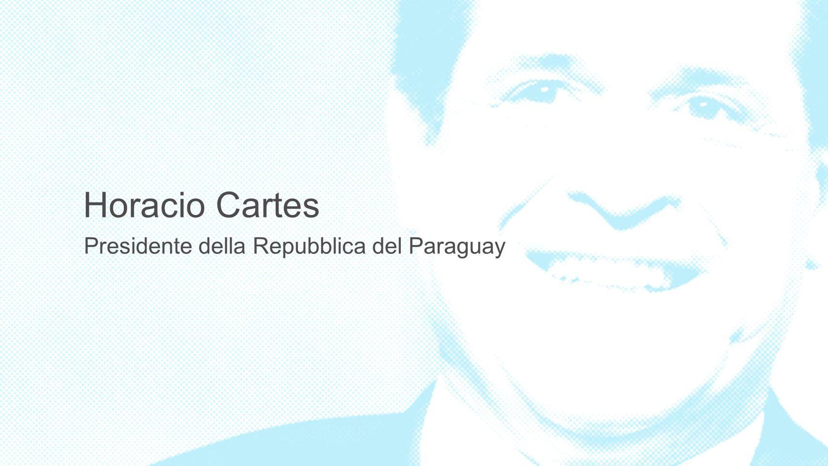 Visione del paese a lungo termino Paraguay é uno dei produttori di alimenti piú efficienti del mondo;aperto e connesso con il mondo; con un alto livello di sviluppo, ambientalmente sostenibile; garante della sicurezza pubblica e della proprietà privata, con un forte ruolo delle donne, dei giovani imprenditori e addestrati a guidare il paese, e uno stato solidale, equo, trasparente e senza tolleranza per la corruzione