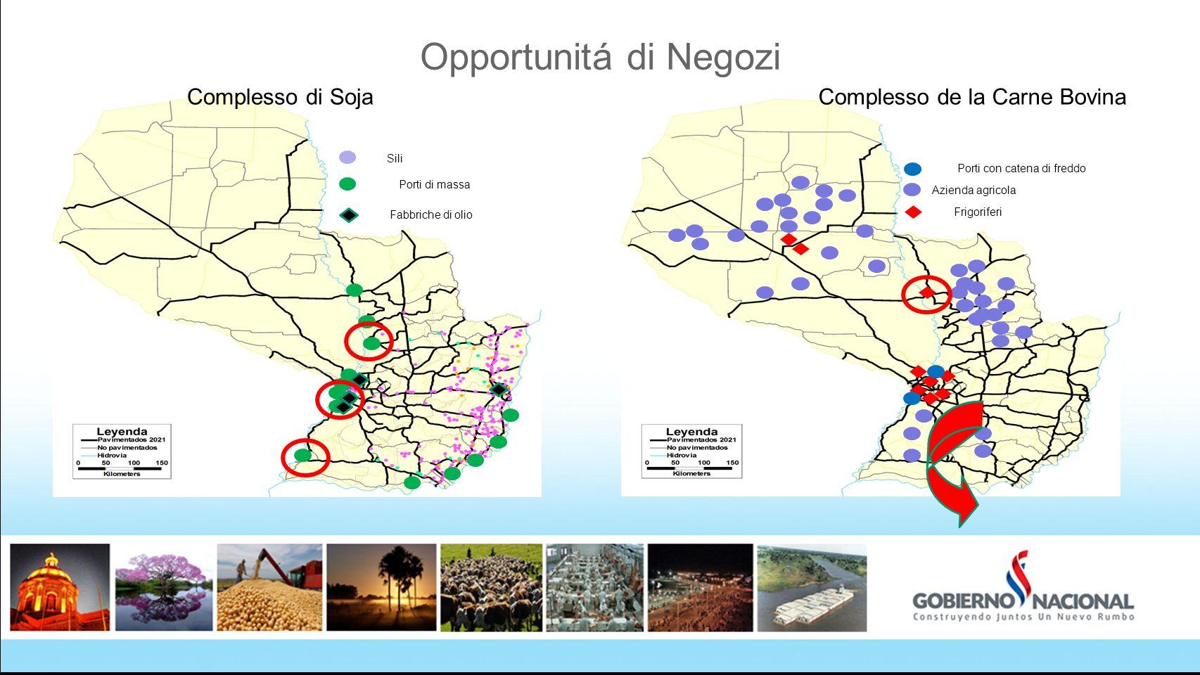 Opportunitá di Negozi Porti di massa Sili Fabbriche di olio Azienda agricola Frigoriferi Porti con catena di freddo Complesso de la Carne BovinaComple