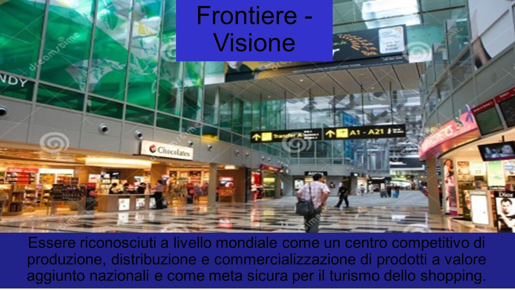 Frontiere - Visione Essere riconosciuti a livello mondiale come un centro competitivo di produzione, distribuzione e commercializzazione di prodotti a