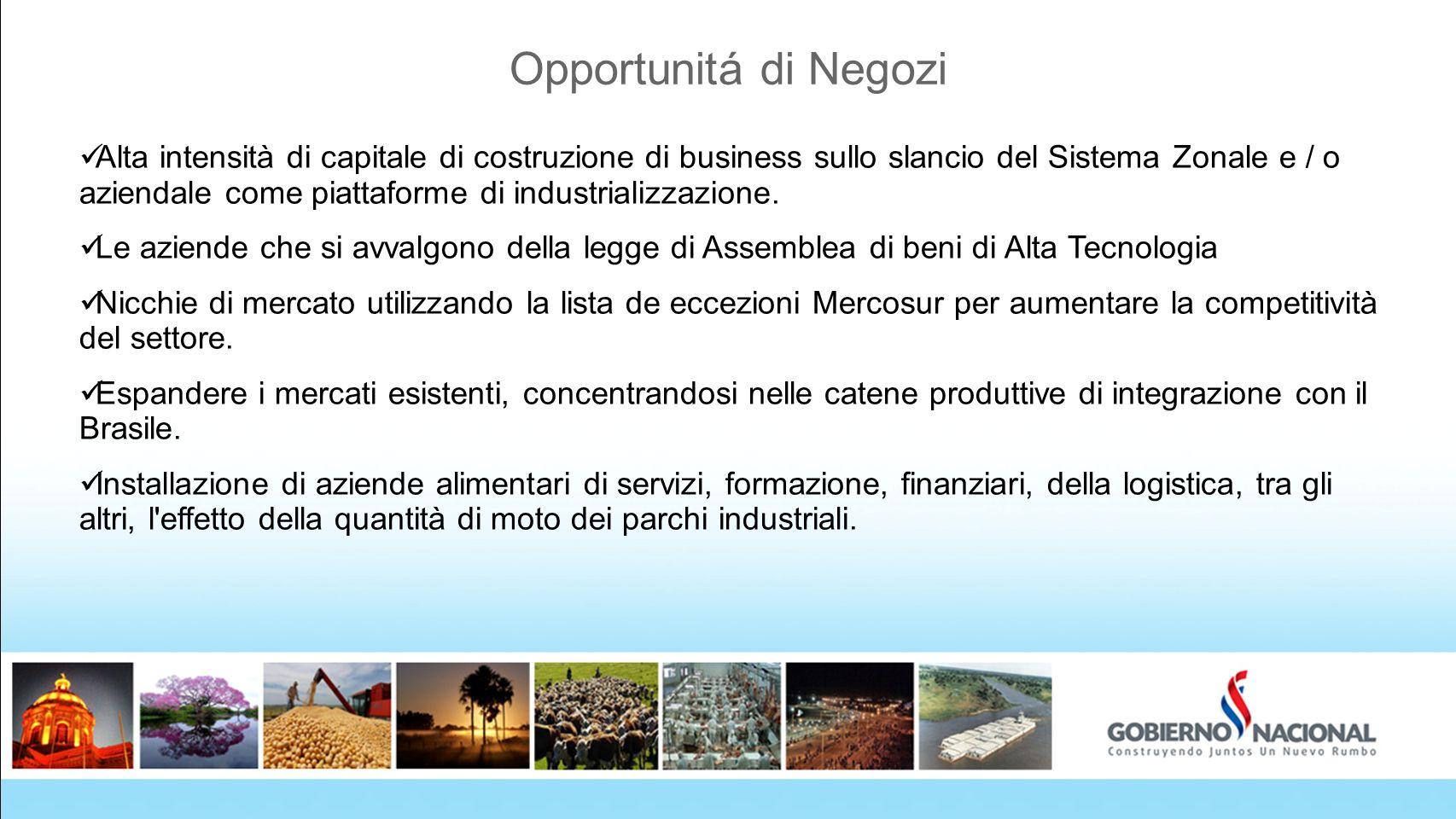 Opportunitá di Negozi Alta intensità di capitale di costruzione di business sullo slancio del Sistema Zonale e / o aziendale come piattaforme di indus