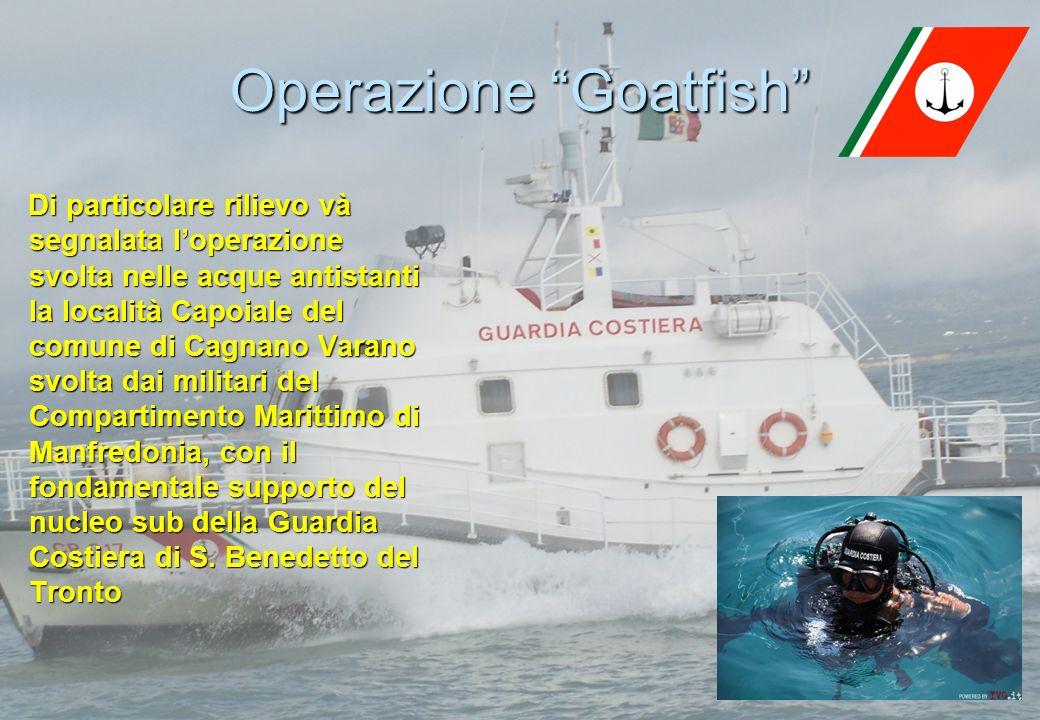 8 Operazione Goatfish Di particolare rilievo và segnalata loperazione svolta nelle acque antistanti la località Capoiale del comune di Cagnano Varano svolta dai militari del Compartimento Marittimo di Manfredonia, con il fondamentale supporto del nucleo sub della Guardia Costiera di S.