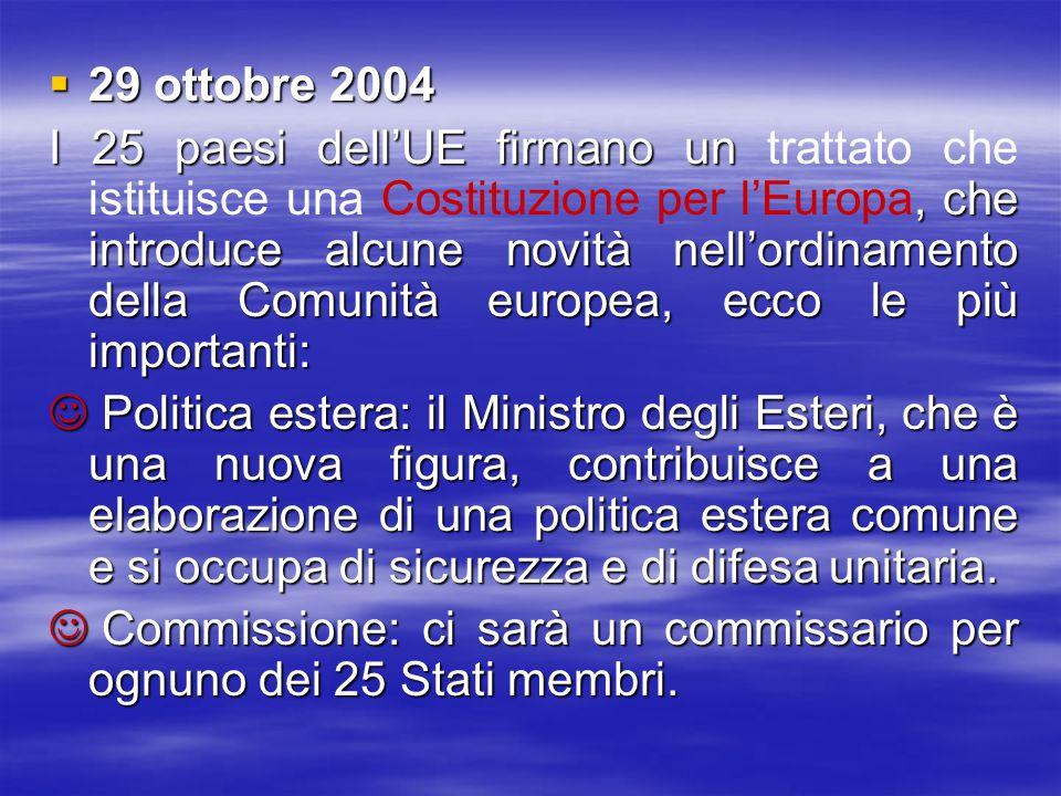 29 ottobre 2004 29 ottobre 2004 I 25 paesi dellUE firmano un, che introduce alcune novità nellordinamento della Comunità europea, ecco le più importan