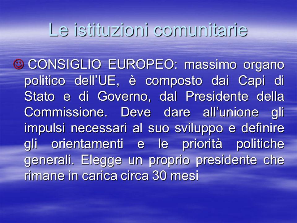 Le istituzioni comunitarie CONSIGLIO EUROPEO: massimo organo politico dellUE, è composto dai Capi di Stato e di Governo, dal Presidente della Commissi