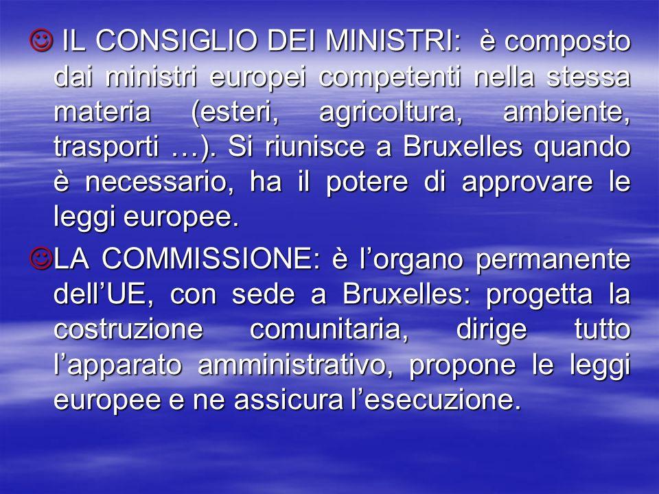 IL CONSIGLIO DEI MINISTRI: è composto dai ministri europei competenti nella stessa materia (esteri, agricoltura, ambiente, trasporti …). Si riunisce a