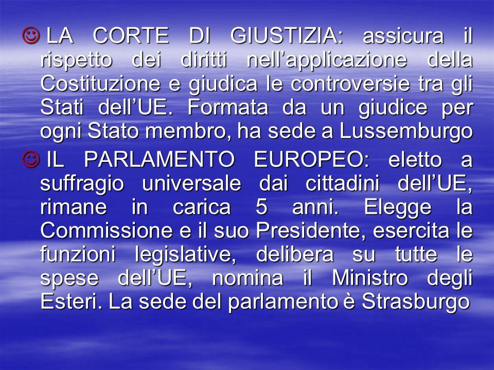 LA CORTE DI GIUSTIZIA: assicura il rispetto dei diritti nellapplicazione della Costituzione e giudica le controversie tra gli Stati dellUE. Formata da