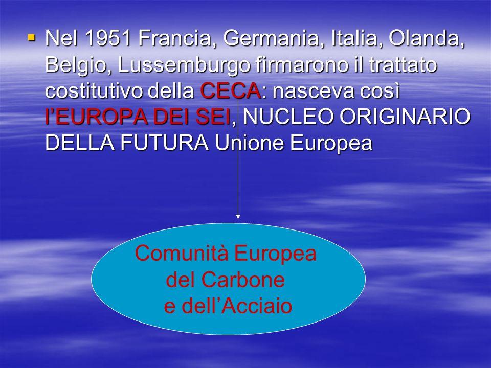 Nel 1951 Francia, Germania, Italia, Olanda, Belgio, Lussemburgo firmarono il trattato costitutivo della CECA: nasceva così lEUROPA DEI SEI, NUCLEO ORI