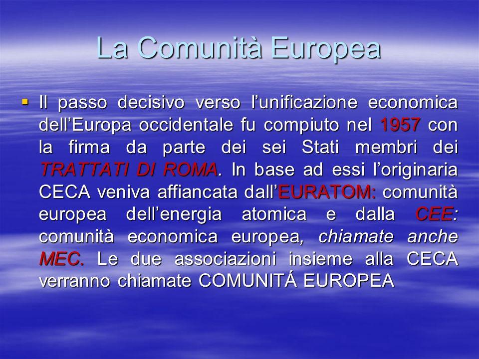 La CEE che entrò in vigore il 1 gennaio 1958 prevedeva fra laltro La CEE che entrò in vigore il 1 gennaio 1958 prevedeva fra laltro labolizione dei dazi doganali e ladozione di una tariffa doganale comune per gli scambi commerciali con i partner extracomunitari; labolizione dei dazi doganali e ladozione di una tariffa doganale comune per gli scambi commerciali con i partner extracomunitari; la libera circolazione delle persone, dei servizi, delle merci e dei capitali allinterno della Comunità; la libera circolazione delle persone, dei servizi, delle merci e dei capitali allinterno della Comunità; una politica agricola comune.