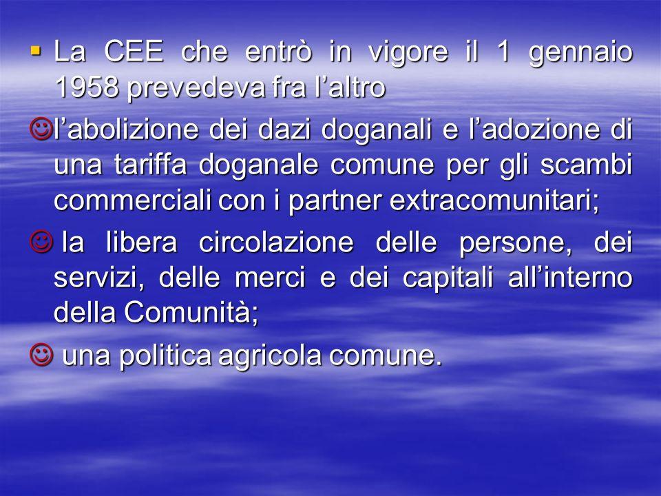 La CEE che entrò in vigore il 1 gennaio 1958 prevedeva fra laltro La CEE che entrò in vigore il 1 gennaio 1958 prevedeva fra laltro labolizione dei da
