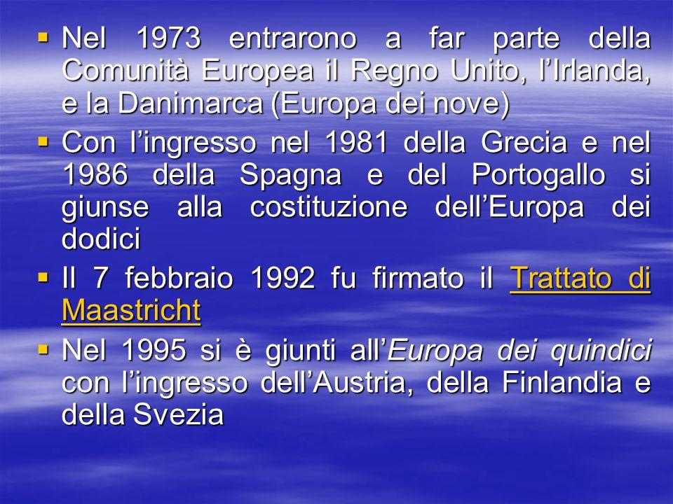 Nel 1973 entrarono a far parte della Comunità Europea il Regno Unito, lIrlanda, e la Danimarca (Europa dei nove) Nel 1973 entrarono a far parte della