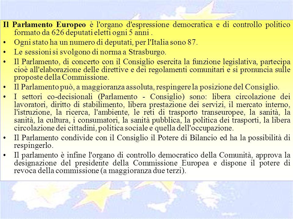 Il Parlamento Europeo è l'organo d'espressione democratica e di controllo politico formato da 626 deputati eletti ogni 5 anni. Ogni stato ha un numero