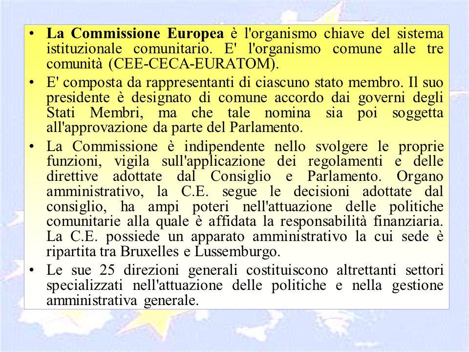 La Commissione Europea è l'organismo chiave del sistema istituzionale comunitario. E' l'organismo comune alle tre comunità (CEE-CECA-EURATOM). E' comp