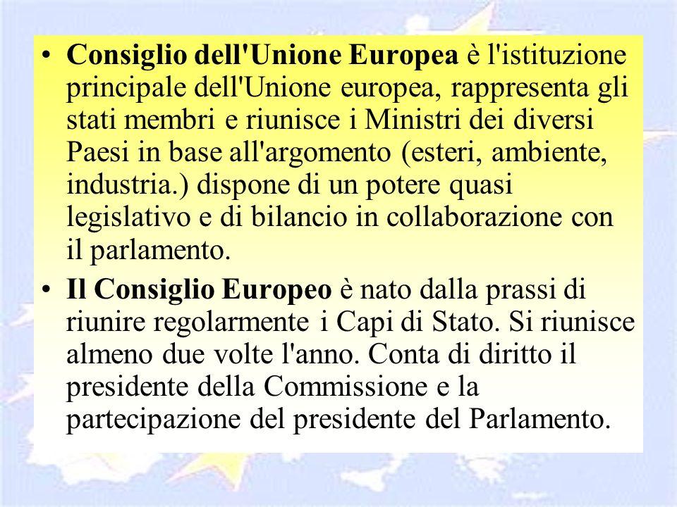 Consiglio dell'Unione Europea è l'istituzione principale dell'Unione europea, rappresenta gli stati membri e riunisce i Ministri dei diversi Paesi in
