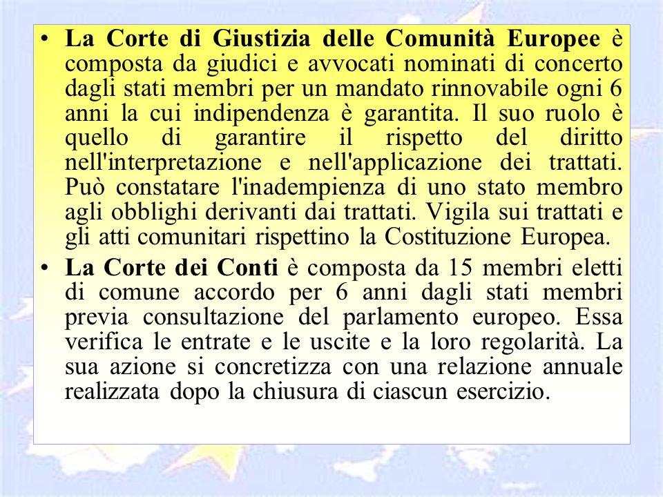 La Corte di Giustizia delle Comunità Europee è composta da giudici e avvocati nominati di concerto dagli stati membri per un mandato rinnovabile ogni