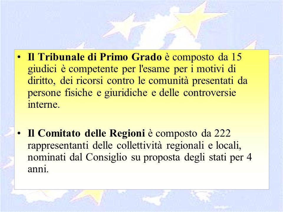 Il Tribunale di Primo Grado è composto da 15 giudici è competente per l'esame per i motivi di diritto, dei ricorsi contro le comunità presentati da pe