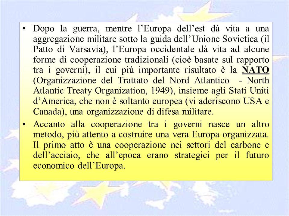 Dopo la guerra, mentre lEuropa dellest dà vita a una aggregazione militare sotto la guida dellUnione Sovietica (il Patto di Varsavia), lEuropa occiden
