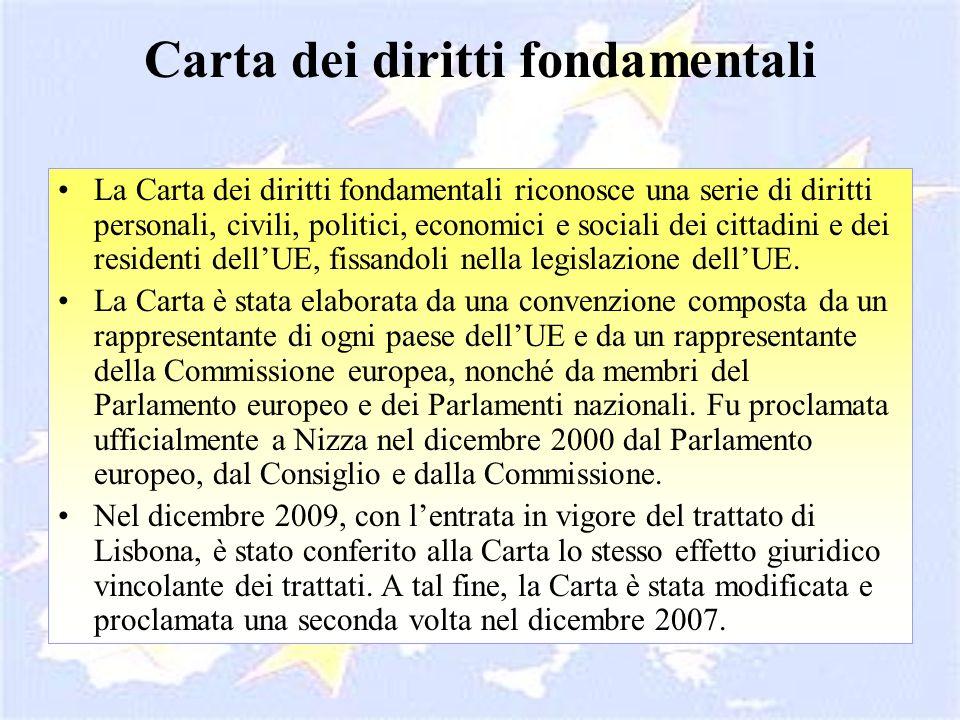 Carta dei diritti fondamentali La Carta dei diritti fondamentali riconosce una serie di diritti personali, civili, politici, economici e sociali dei c