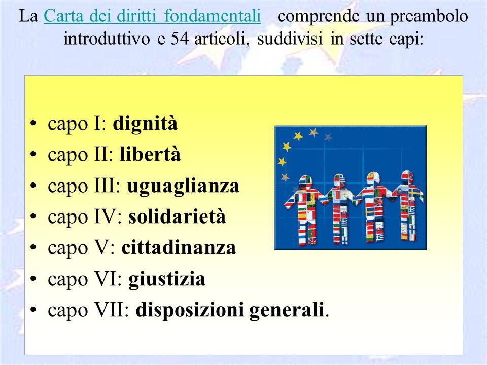 La Carta dei diritti fondamentali comprende un preambolo introduttivo e 54 articoli, suddivisi in sette capi:Carta dei diritti fondamentali capo I: di