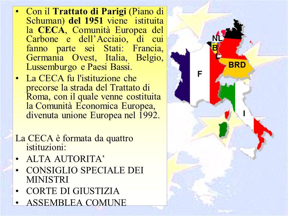 Con il Trattato di Parigi (Piano di Schuman) del 1951 viene istituita la CECA, Comunità Europea del Carbone e dellAcciaio, di cui fanno parte sei Stat