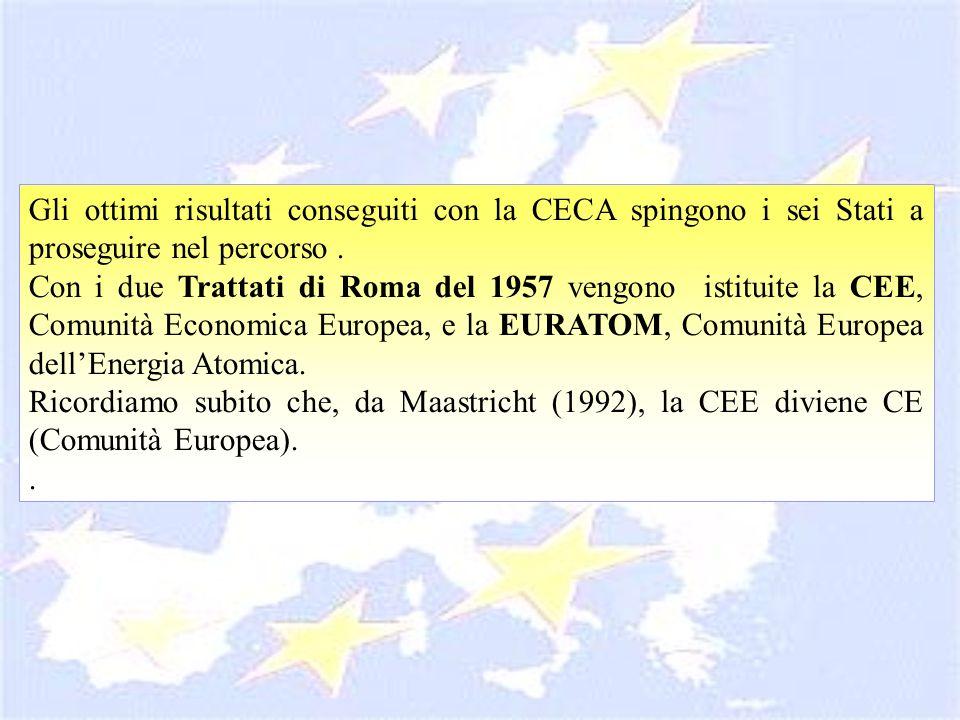 Gli ottimi risultati conseguiti con la CECA spingono i sei Stati a proseguire nel percorso. Con i due Trattati di Roma del 1957 vengono istituite la C