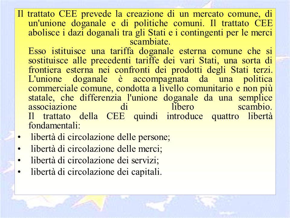 Il trattato CEE prevede la creazione di un mercato comune, di un'unione doganale e di politiche comuni. Il trattato CEE abolisce i dazi doganali tra g