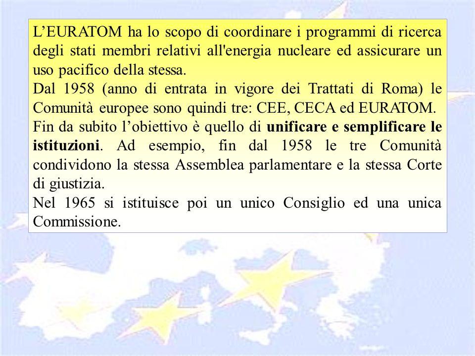 LEURATOM ha lo scopo di coordinare i programmi di ricerca degli stati membri relativi all'energia nucleare ed assicurare un uso pacifico della stessa.