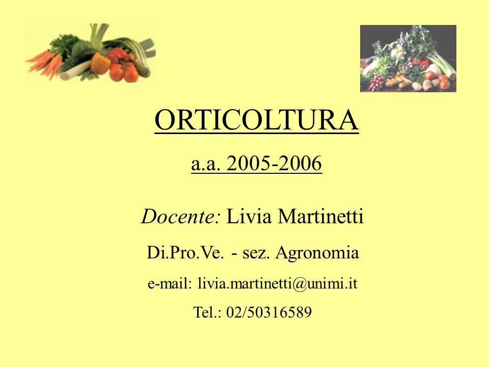 ORTICOLTURA a.a. 2005-2006 Docente: Livia Martinetti Di.Pro.Ve. - sez. Agronomia e-mail: livia.martinetti@unimi.it Tel.: 02/50316589
