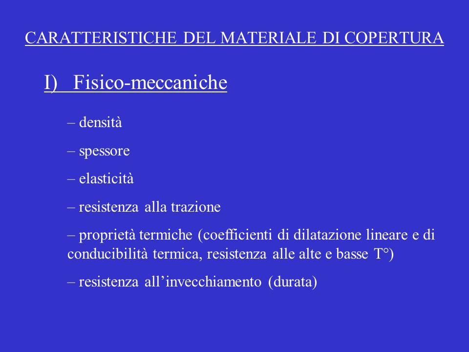 CARATTERISTICHE DEL MATERIALE DI COPERTURA – densità – spessore – elasticità – resistenza alla trazione – proprietà termiche (coefficienti di dilatazi
