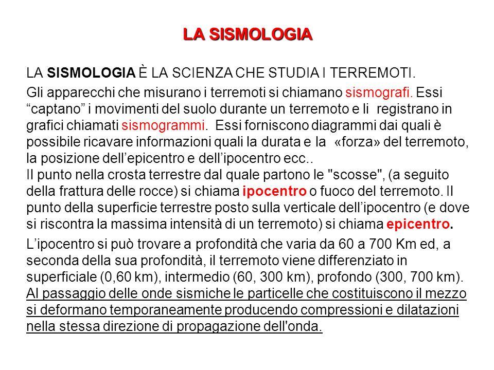 LA SISMOLOGIA LA SISMOLOGIA È LA SCIENZA CHE STUDIA I TERREMOTI. Gli apparecchi che misurano i terremoti si chiamano sismografi. Essi captano i movime