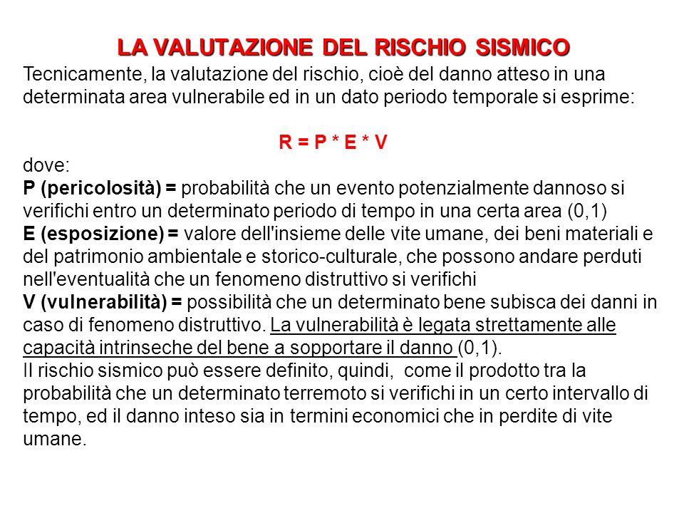 LA VALUTAZIONE DEL RISCHIO SISMICO Tecnicamente, la valutazione del rischio, cioè del danno atteso in una determinata area vulnerabile ed in un dato p