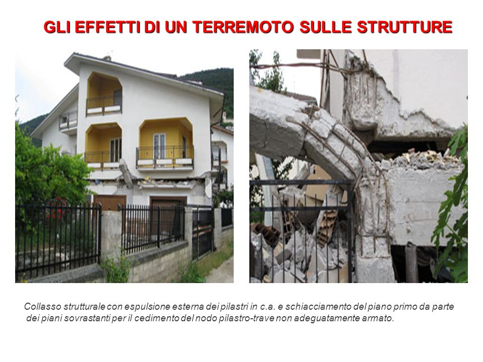 GLI EFFETTI DI UN TERREMOTO SULLE STRUTTURE Collasso strutturale con espulsione esterna dei pilastri in c.a. e schiacciamento del piano primo da parte