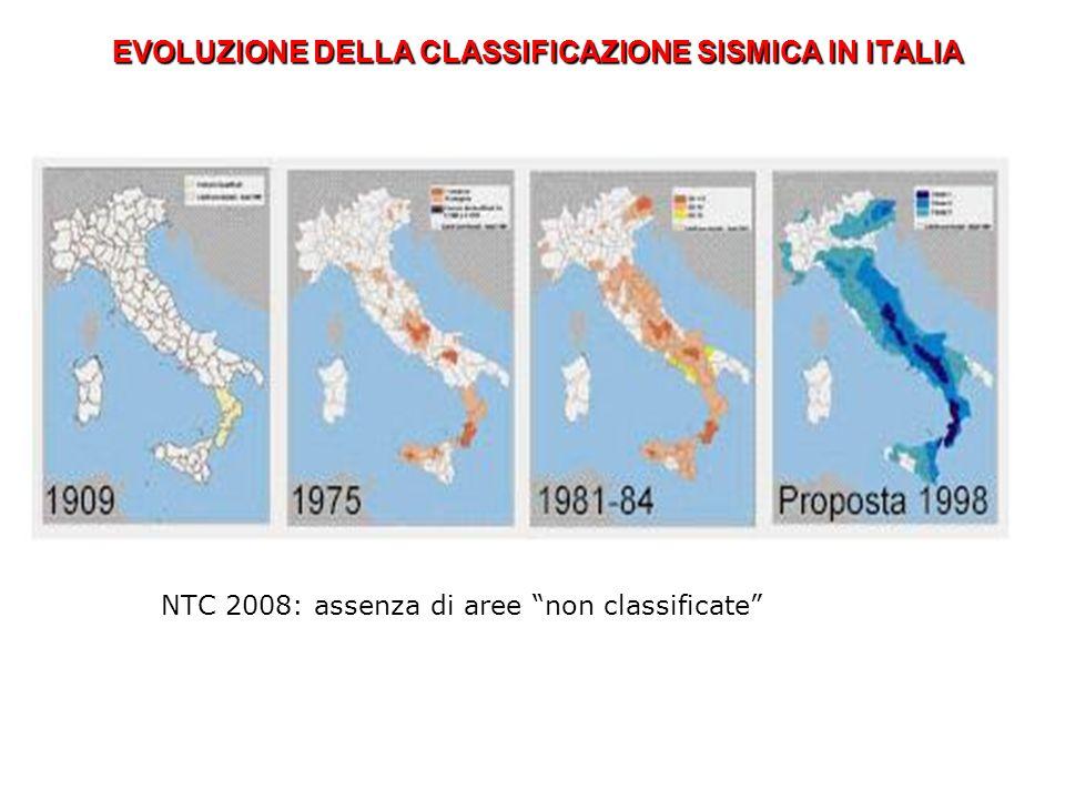 EVOLUZIONE DELLA CLASSIFICAZIONE SISMICA IN ITALIA NTC 2008: assenza di aree non classificate